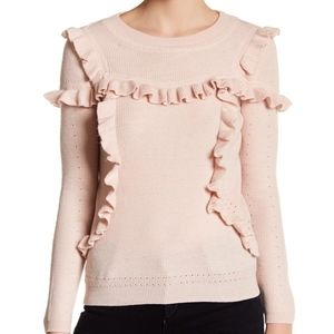 Topshop Dust Rose Ruffle Yoke Sweater